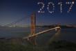 2017 Golden Gate Bridge Firework New Year Concept Sunset