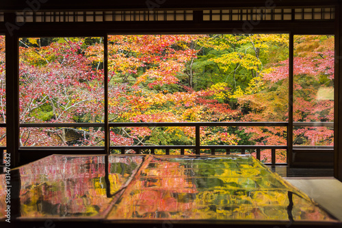 Photo  Autumn Japanese garden of Rurikoin temple, Kyoto, Japan