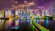 Miami, Florida, USA Skyline over Biscayne Bay.