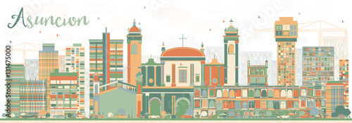 Abstract Asuncion Skyline with Color Buildings. Wallpaper Mural