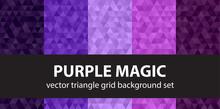 "Triangle Pattern Set ""Purple Magic"". Vector Geometric Background"