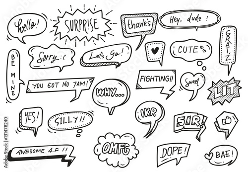 Valokuva  set of cute speech bubble with text in doodle style