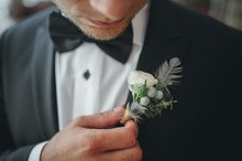 Young Groom Boutonniere In His...