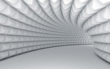 Fototapeta Przestrzenne - Abstract white tunnel with pyramid textured walls.
