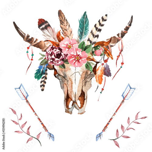 Poster Watercolor isolated bull's head with flowers and feathers on white background. Boho style. Skull for wrapping, wallpaper, t-shirts, textile, posters, cards, prints