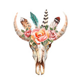 Watercolor isolated bull's head with flowers and feathers on white background. Boho style. Skull for wrapping, wallpaper, t-shirts, textile, posters, cards, prints - 131496400