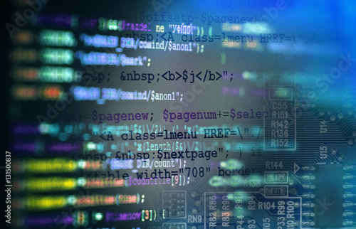 Software computer programming code and circuit board abstract ...