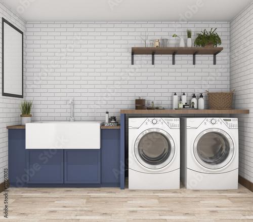 Obraz na plátně  3d rendering washing machine in vintage laundry room