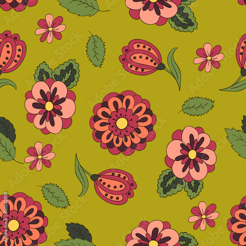 Seamless Pattern With Spring Flowers Cover Background Red And