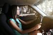 Beautiful girl driving a car