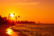canvas print picture - Sunset on tropical beach