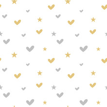 Cute Silver And Gold Hearts And Stars Seamless Vector Pattern Background Illustration