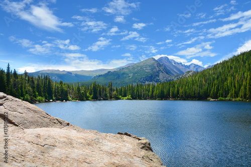Beautiful landscape, lake in the mountains. Blue sky in background. Copy space. Rocky Mountains National Park, Bear Lake, Colorado, USA.