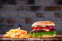 Big Burger In Classic American...
