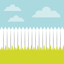 Fence And Grass Landscape Vect...