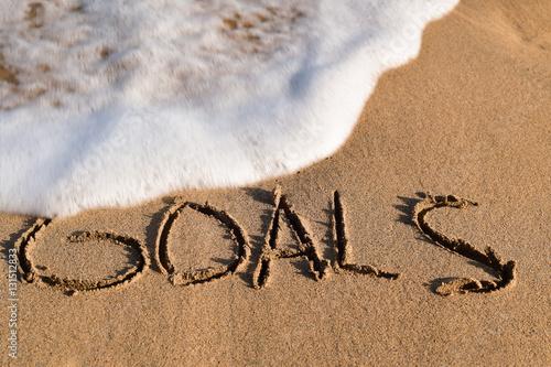 Fotografie, Obraz  word goals in the sand of a beach