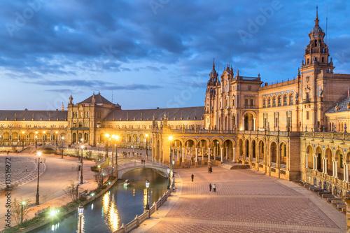Deurstickers Krakau Plaza de Espana in the evening in Seville