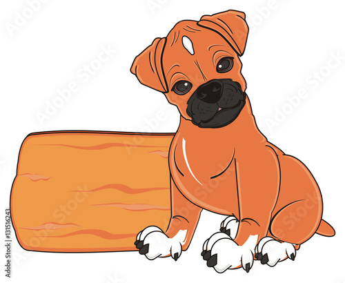 Poster Dogs sit, sleep, in love, love, hearts, animal, cartoon, German boxer, color, dog, puppy, pet, orange, brown, profile, boxer dog, woof, germany, boxer