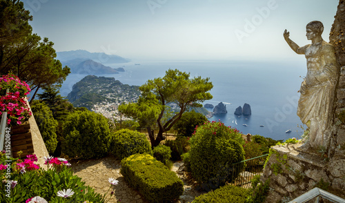 Panoramic view of Capri Island from Mount Solaro, Italy Canvas Print