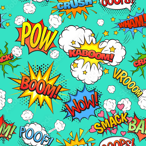 Printed kitchen splashbacks Comic Speech Bubbles Seamless Pattern Background