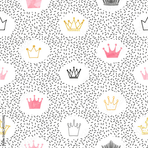 Seamless watercolor and glittering crowns pattern. Vector background.