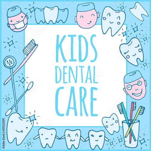 Kids Dental Care Practice Poster Template Kawaii Dentist Vector Set Of Hand Drawn Objects Cute Sketch With Doctor Teeth Toothbrush Smile And