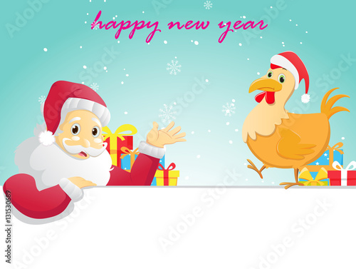 Poster Vogels, bijen happy new year banner. Santa Claus and his rooster.