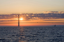 Mackinac Bridge During Sunset. Sunset Over The Mackinac Bridge, Michigan, USA.