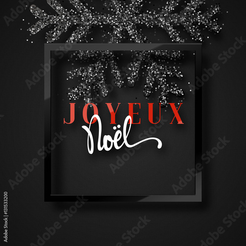 merry christmas french inscription joyeux noel christmas background with beautiful bright snowflakes - Merry Christmas French