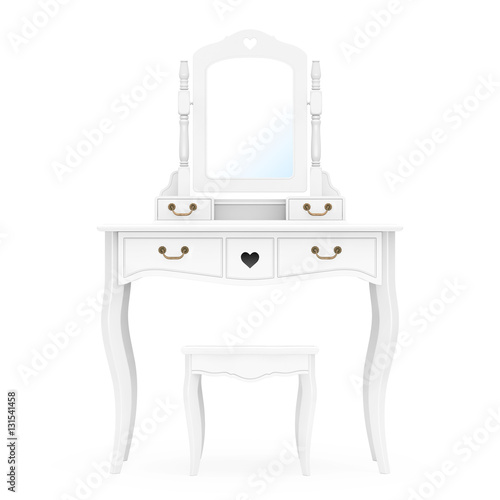 Obraz na plátne Antique Bedroom Vanity Table with Stool and Mirror. 3d Rendering