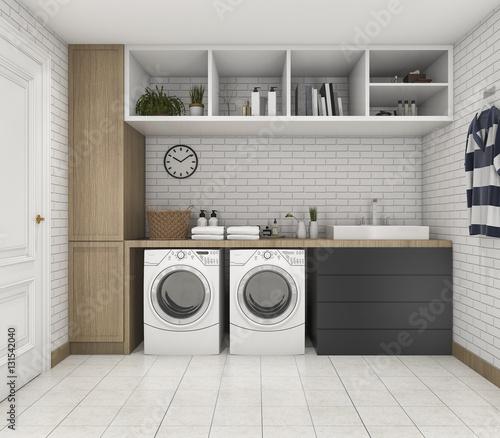 Fotografia, Obraz  3d rendering wood minimal laundry room with shelf and plant