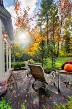 Fall Sun Through Tress Lights Suburban Patio And Garden