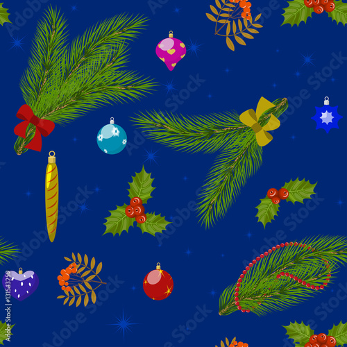 Tuinposter Vlinders Christmas pattern on blue background