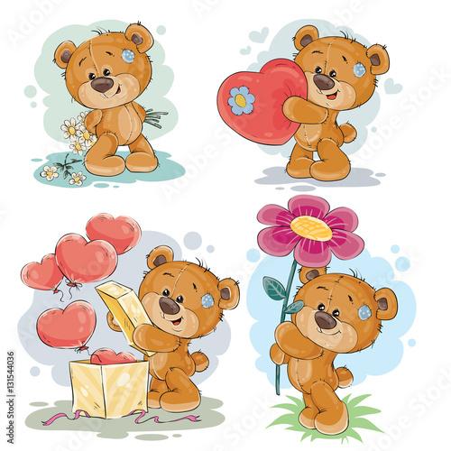 Set vector clip art illustrations of teddy bears #131544036