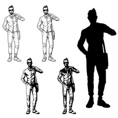 Set vector illustration of a fashionable guy