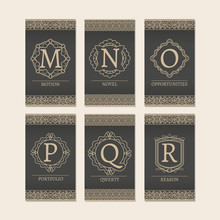 Cards Set With Monogram Logos And Borders. Letters M-R Vector Illustration
