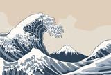 Fale oceanu, ilustracja w stylu japońskim - 131550605