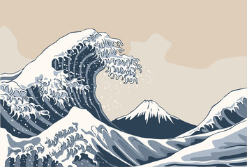 Fototapeta Japoński Ocean waves, Japanese style illustration