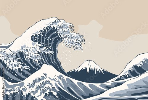 Photo  Ocean waves, Japanese style illustration
