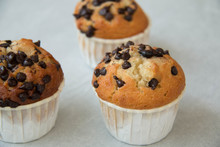 Photo Of A Chocolate Chip Muffin.