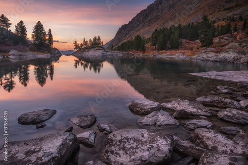 Canvas Prints Cappuccino Mirror Lake Surface Reflecting Sunset Light And Pine Trees, Altai Mountains Highland Nature Autumn Landscape Photo