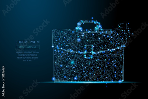 Fototapeta Abstract image of a briefcase in the form of a starry sky or space, consisting of points, lines, and shapes in the form of planets, stars and the universe. Business portfolio vector wireframe concept obraz