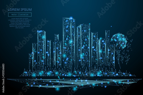Abstract image of a Megalopolis in the form of a starry sky or space, consisting of points, lines, and shapes in the form of planets, stars and the universe. Big city vector wireframe concept - 131556683