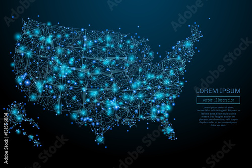 Fotografía  Abstract image of a USA map in the form of a starry sky or space, consisting of points, lines, and shapes in the form of planets, stars and the universe