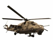 Helicopter Mi-24V Mi-35 Isolated Sepia