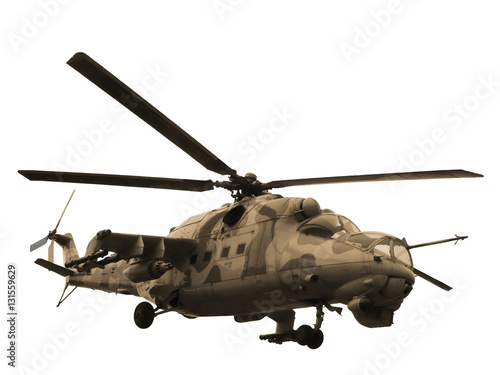 Poster Helicopter Helicopter Mi-24V Mi-35 isolated sepia
