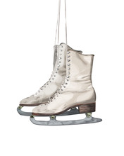 Old Vintage Ice Skates Isolate...