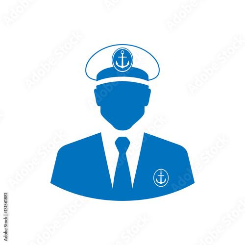 Fotografía  Icono plano silueta capitan barco azul en fondo blanco