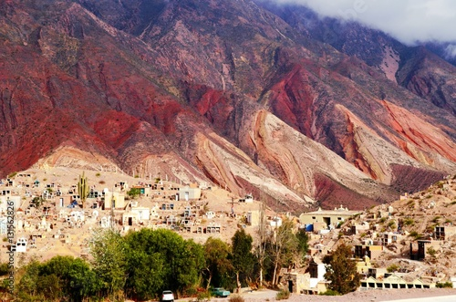 Foto auf Gartenposter Hugel Long shot of the Cerro de los siete colores or the hill of seven colors in Humahuaca in Argentina, South America