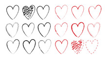Set Of Hand Drawn Vector Heart...